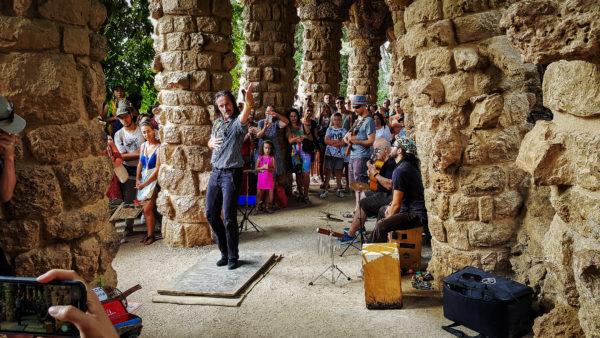 Flamenco dance in Park Guel, Barcelona (Spain)